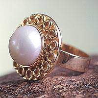 Gold plated cultured pearl flower ring, 'White Cuzco Bloom'