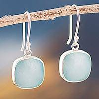 Opal dangle earrings, 'Window' - Sterling Silver Andean Drop Earrings with Opal
