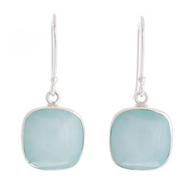 Opal dangle earrings, 'Window' - Sterling Silver Andean Dangle Earrings with Opal