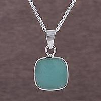Opal pendant necklace, 'Window' - Handcrafted Andean Sterling Silver Necklace with Opal