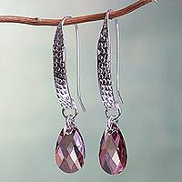Sterling silver dangle earrings, 'Sparkling Rose' - Pink Swarovski Crystal Handcrafted Silver Earrings