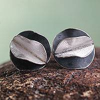 Sterling silver button earrings, 'Dark Petals' - Andean Sterling Silver Artisan Crafted Button Earrings