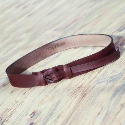 Leather belt, 'Brown Qallu' - Brown Leather Belt for Women in Modern Design