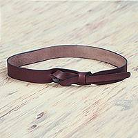 Leather belt, 'Classical Brown' - Women's Brown Leather Belt Modern Design