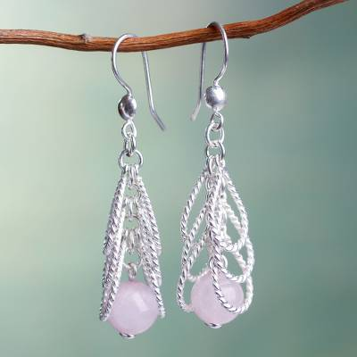 Rose quartz waterfall earrings, 'Emerging Pink' - Handcrafted Sterling Waterfall Earrings with Rose Quartz