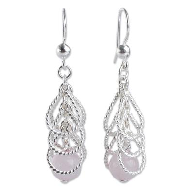 Rose quartz waterfall earrings, 'Emerging Pink' - Handcrafted Sterling Waterfall Earrings with Rose Quartz