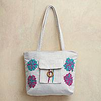 Cotton shoulder bag, 'Sweet Garden Flowers' - Embroidered Ivory Cotton Bag with Turquoise and Fuchsia