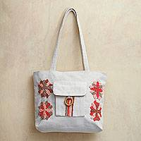 Cotton shoulder bag, 'Bright Garden Flowers' - Pink and Brown Embroidered Ivory Cotton Shoulder Bag