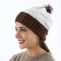100% alpaca hat, 'Daydreamer' - Genuine Alpaca Beanie Hat for Women Knitted by Hand