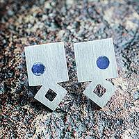 Sodalite button earrings, 'Arrow' - Artisan Crafted Brushed Sterling Earrings with Sodalite