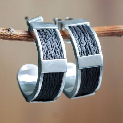 Sterling silver and leather half hoop earrings, 'Leather Minimalist' - Artisan Crafted Leather Accent Sterling Silver Earrings