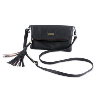 Leather shoulder bag, 'Versatile Vanguard' - Leather Shoulder Bag Double Pocket with Removable Strap