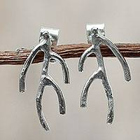Sterling silver drop earrings, 'Olive Branch' - Sterling Silver Artisan Crafted Jewelry from Peru