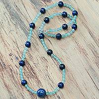 Aventurine and lapis lazuli beaded necklace, 'Sky Mint'