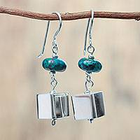 Chrysocolla dangle earrings, 'Cubic by Nature' - Chrysocolla Gems on Sterling Silver Earrings from Peru