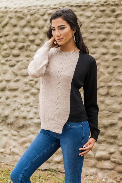 Alpaca blend sweater, 'Asymmetrical Elegance' - Alpaca Blend Knit Sweater from Peru in Beige and Black