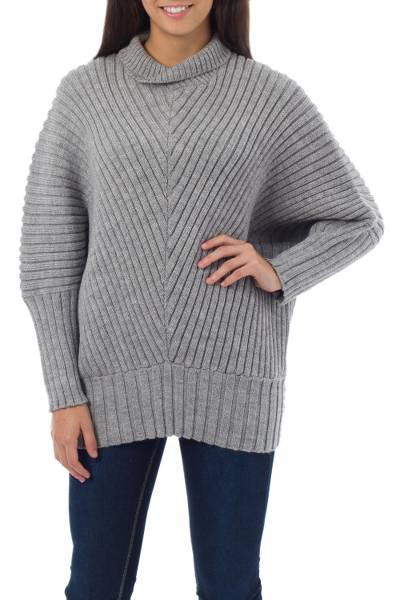 Alpaca blend sweater, 'Bold Chic' - Grey Alpaca Blend Long Sweater Knitted Apparel for Women