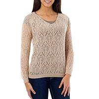Alpaca blend sweater, 'Nazca Muse' - Beige Alpaca Blend Long Sleeve V-neck Knit Sweater Top