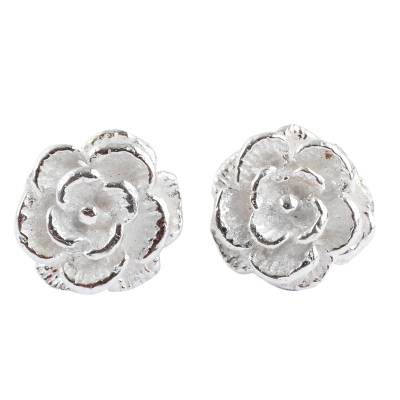 Sterling silver button earrings, 'Precious Gardenia' - Handcrafted Sterling Silver Flower Earrings from Peru