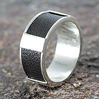Sterling silver band ring, 'Leather Minimalist' - Artisan Crafted Leather Accent Sterling Silver Band Ring