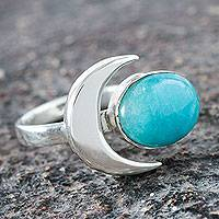 Amazonite cocktail ring, 'Moon Lake' - Amazonite and Silver Artisan Crafted Cocktail Ring