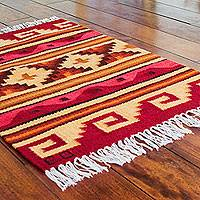 Wool rug, 'Our History' (2x3) - Petite Handwoven Andean Geometric Wool Rug (2 x 3)