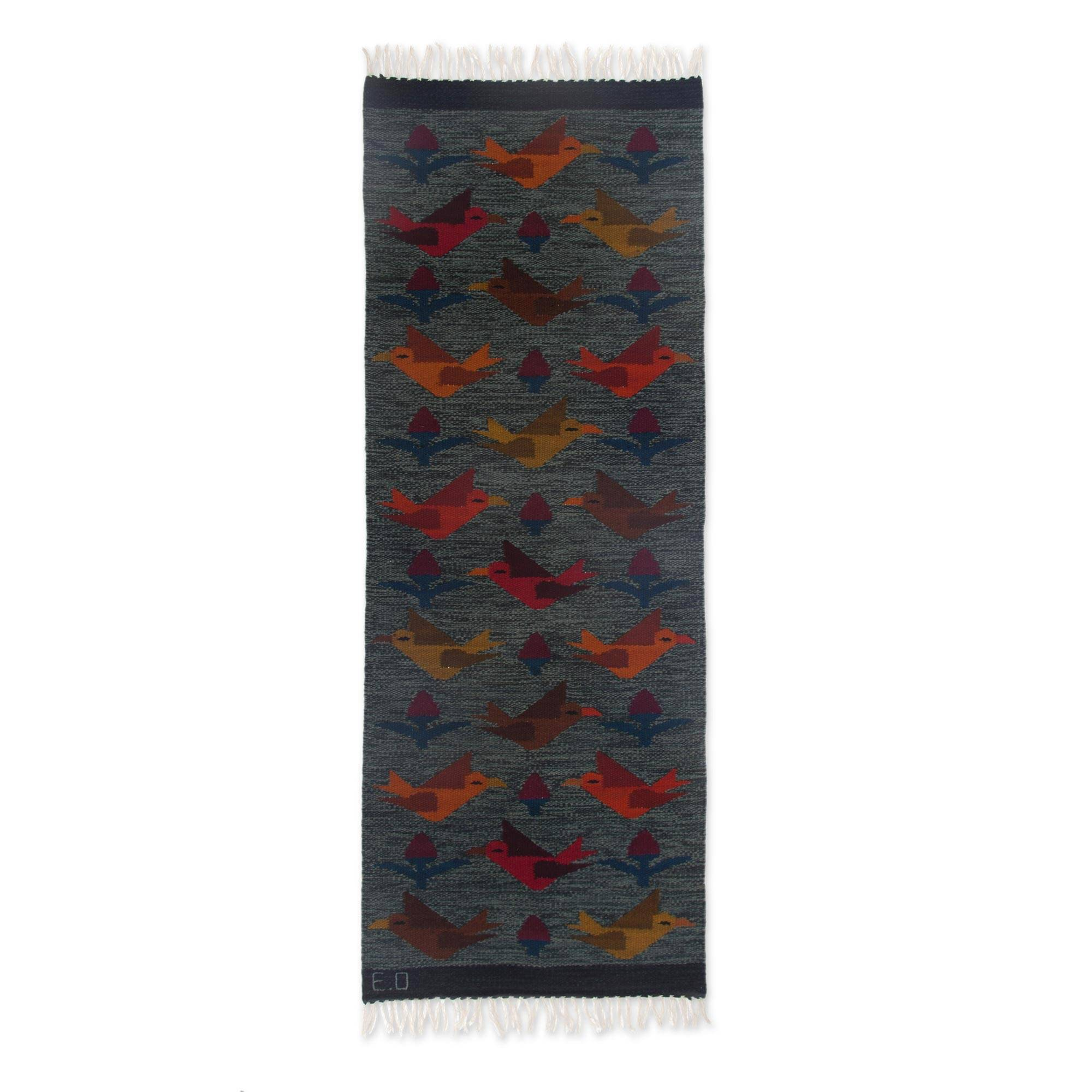 Unicef Market Handwoven Bird Theme Peruvian Blue Wool