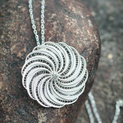 Sterling silver pendant necklace, 'Filigree Mum' - Artisan Crafted Sterling Filigree Peruvian Flower Necklace