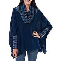100% alpaca poncho, 'Titicaca Blue' - Womens Knitted 100% Alpaca Blue Cape Poncho with Fair Isle P