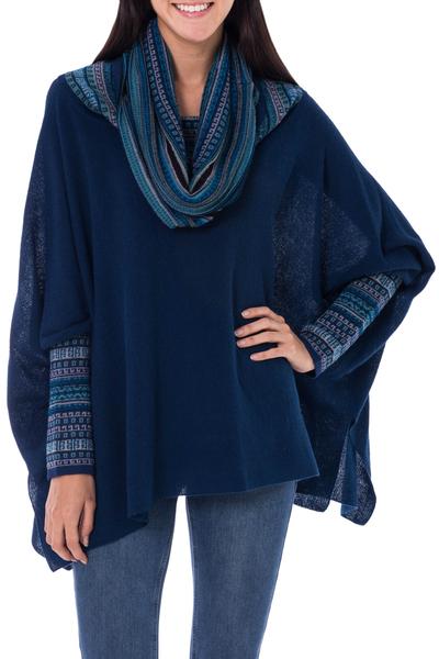 100% alpaca poncho, 'Titicaca Blue' - Womens Knitted 100% Alpaca Blue Cape Poncho with Fair Isle P