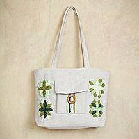 Cotton shoulder bag, 'Green Garden Flowers' - Ivory Cotton Shoulder Bag with Embroidered Green Flowers