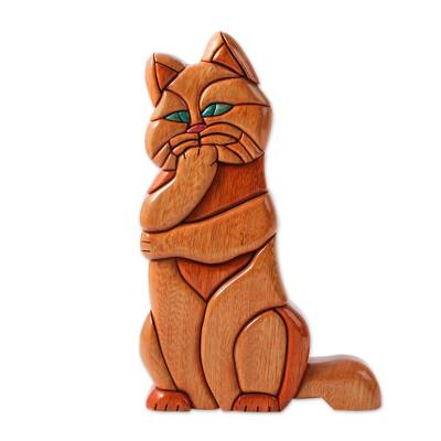 Artisan Crafted Hand Carved Wooden Cat Sculpture
