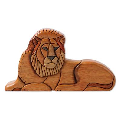 Cedar and mahogany sculpture, 'Lion at Rest' - Artisan Carved Jungle Cat Sculpture in Wood