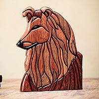 Cedar and mahogany wood statuette, 'Collie Dog' - Dog Statuette Artisan Crafted of Cedar and Mahogany
