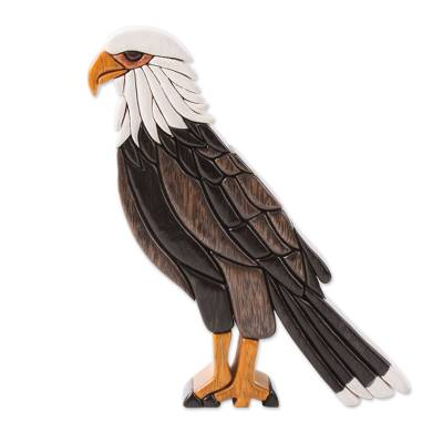 Cedar and mahogany wood statuette, 'Bald Eagle' - Bald Eagle Cedar and Mahogany Statuette Artisan Crafted