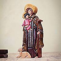 Wood statuette, 'St. Anthony and Christ' - Wood Statuette Religious Art Crafted by Hand in Peru