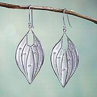 Sterling silver dangle earrings, 'Lacy Leaf' - Silver Filigree Handmade Sterling Leaf Earrings from Peru
