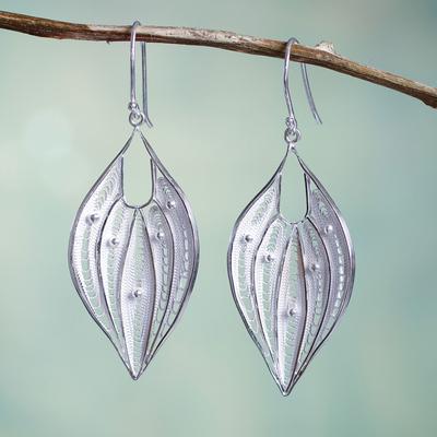 Sterling silver dangle earrings, 'Lacy Leaf' - Silver Filigree Handmade Sterling Leaf Earrings from Peru