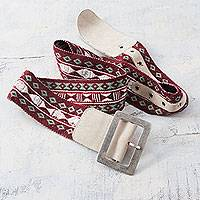 Alpaca blend and suede accent belt, 'Cuzco Vibes' - Alpaca Blend Red Belt with Beige Suede Woven by Hand