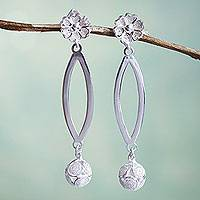 Sterling silver filigree earrings, 'Junin Moon' - Filigree Sterling Silver Earrings with Flowers and Spheres