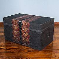 Leather chest, 'Inca Geometry' - Artisan Crafted Tooled Leather Chest Trunk from Peru