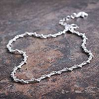 Sterling silver anklet, 'Moonlit Starfish' - Fair Trade Sterling Silver Hand Crafted Anklet from Peru