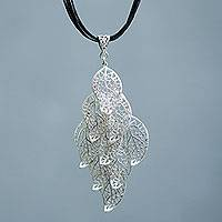 Sterling silver pendant necklace, 'Frosted Leaves' - Sterling Silver Leaf Pendant on Cotton Necklace from Peru