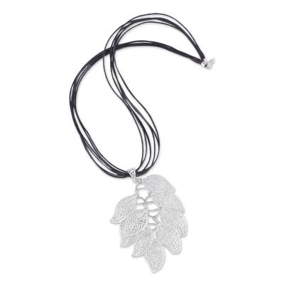 Sterling Silver Leaf Pendant on Cotton Necklace from Peru