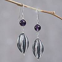 Amethyst dangle earrings, 'Cocoa Pods' - Handcrafted Amethyst and Sterling Silver Modern Earrings