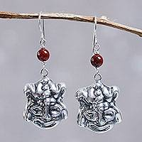 Carnelian dangle earrings, 'Inca Frog' - Pre-Hispanic Inspired Animal Theme Silver Earrings