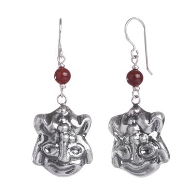 Carnelian dangle earrings, 'Inca Frog' - Pre-Hispanic Inspired Animal Theme Silver Earrings