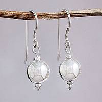 Sterling silver dangle earrings, 'Eternal Moonlight' - Polished Sterling Silver Handcrafted Dangle Earrings