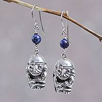 Lapis lazuli dangle earrings, 'Moche Image' - Artisan Crafted Lapis Lazuli and Sterling Silver Earrings