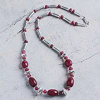 Ruby beaded necklace, 'Splendid Rose' - Handcrafted Andes Long Ruby Necklace